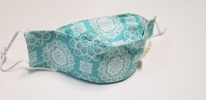 teal mandala-blue, flower, floral, mask, cover, face, covid